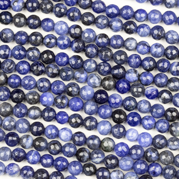 Sodalite 6mm Mala Faceted Round Beads - 29 inch strand