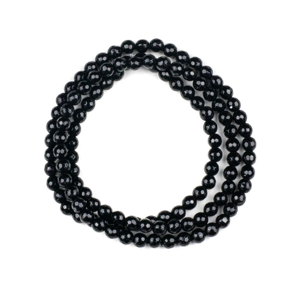 Onyx 6mm Mala Faceted Round Beads - 29 inch strand
