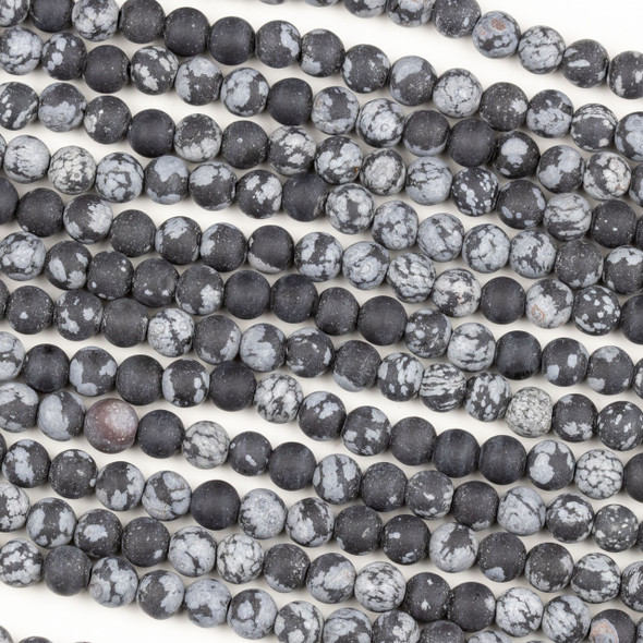 Matte Snowflake Obsidian 6mm Mala Round Beads - 29 inch strand