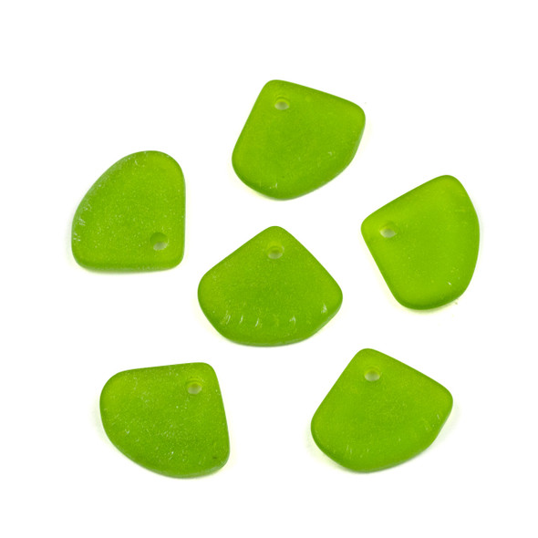 Matte Glass, Sea Glass Style 20x24mm Olive Green Ridged Triangle Pendants - 6 per bag