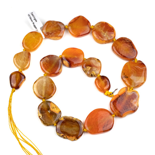 Dyed Agate 15-45x18-55mm Orange Graduated Slice Nugget Beads with Natural Edge - 16 inch strand