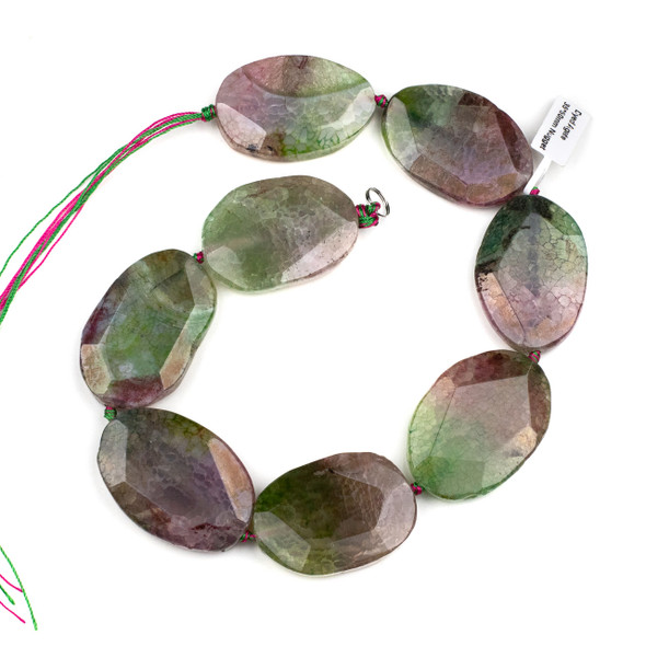 Dyed Agate 35x50mm Watermelon Pink and Green Faceted Slab Beads - 16 inch strand
