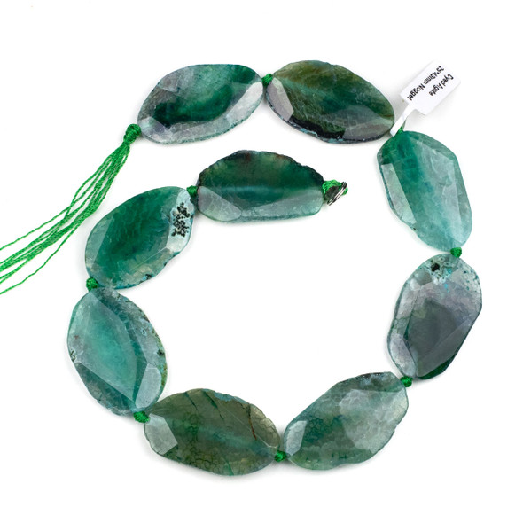 Dyed Agate 25x43mm Green Faceted Slab Beads - 16 inch strand