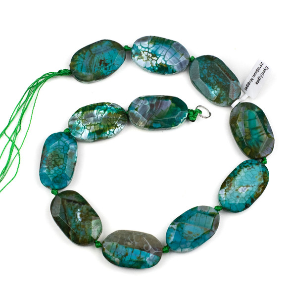 Dyed Agate 21x35mm Turquoise Green Faceted Slab Beads - 16 inch strand
