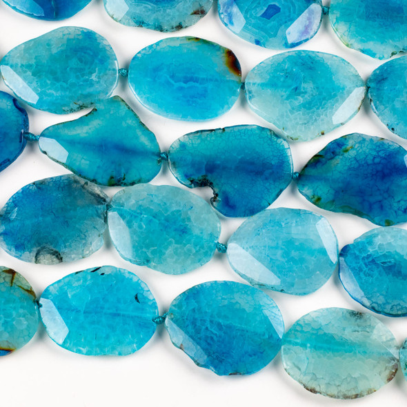 Dyed Agate 30x48mm Bright Blue Faceted Slab Beads - 16 inch strand