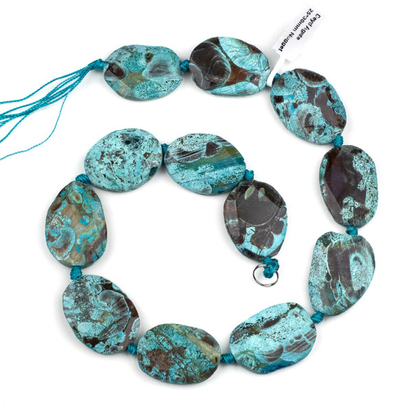Dyed Agate 25x30mm Turquoise Faceted Slab Beads - 16 inch strand