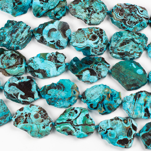 Dyed Agate 40x50mm Turquoise Slab Beads with Natural Edge - 16 inch strand