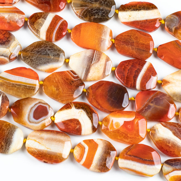 Dyed Agate 30x40mm Orange and White Faceted Slab Beads - 16 inch strand