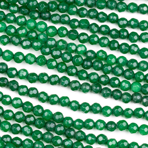 Dyed Jade 4mm Emerald Green Faceted Round Beads - 8 inch strand