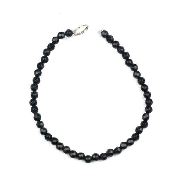 Dyed Jade 4mm Soft Black Faceted Round Beads - 8 inch strand