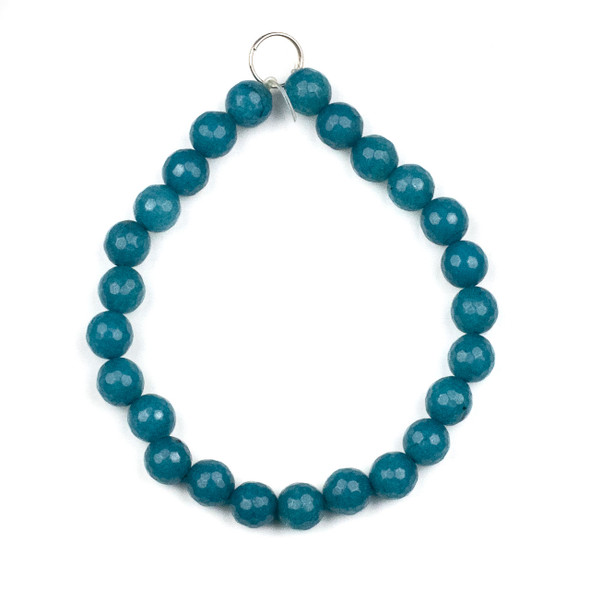 Dyed Jade 8mm Peacock Blue Faceted Round Beads - 8 inch strand