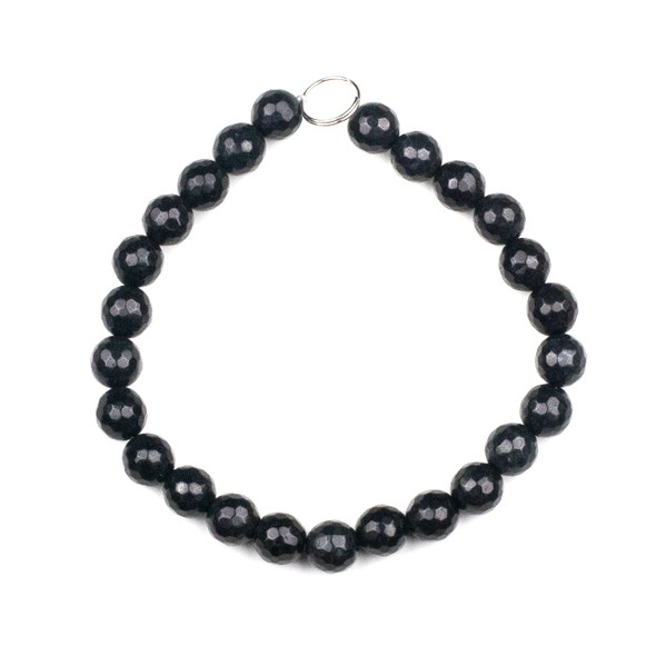 Dyed Jade 8mm Soft Black Faceted Round Beads - 8 inch strand
