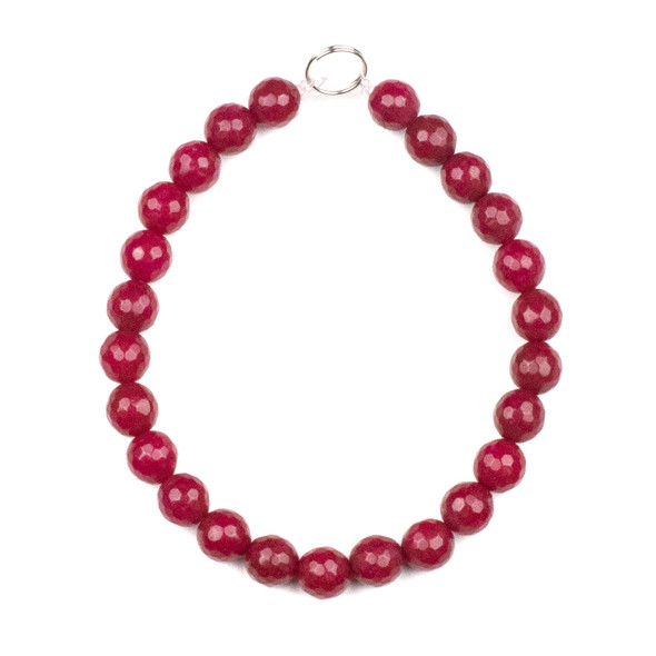 Dyed Jade 8mm Raspberry Pink Faceted Round Beads - 8 inch strand
