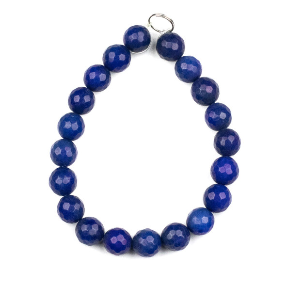 Dyed Jade 10mm Dark Sapphire Blue Faceted Round Beads - 8 inch strand