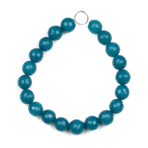 Dyed Jade 10mm Peacock Blue Faceted Round Beads - 8 inch strand