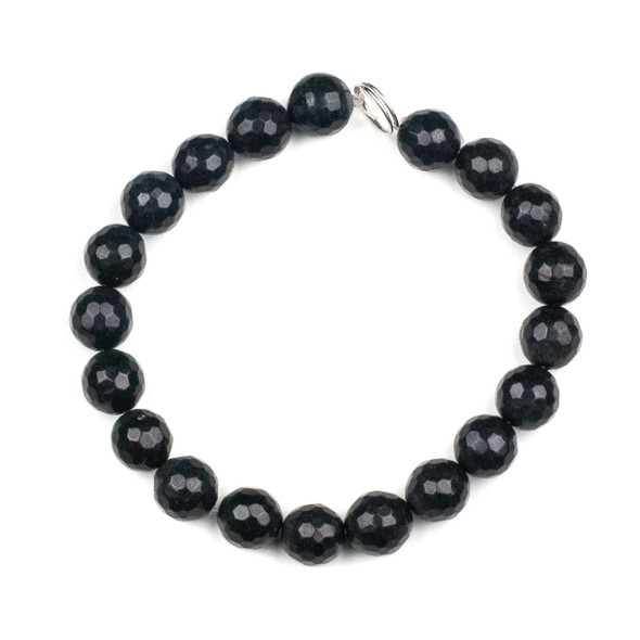 Dyed Jade 10mm Soft Black Faceted Round Beads - 8 inch strand