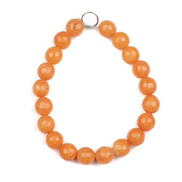 Dyed Jade 10mm Papaya Orange Faceted Round Beads - 8 inch strand
