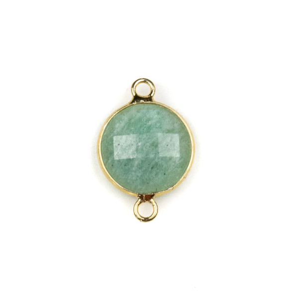 Amazonite 14x21mm Faceted Coin Link with with a Brass Plated Base Metal Bezel - 1 per bag
