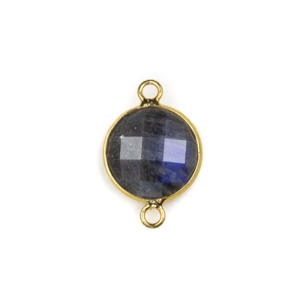 Blue Labradorite 14x21mm Faceted Coin Link with with a Brass Plated Base Metal Bezel - 1 per bag