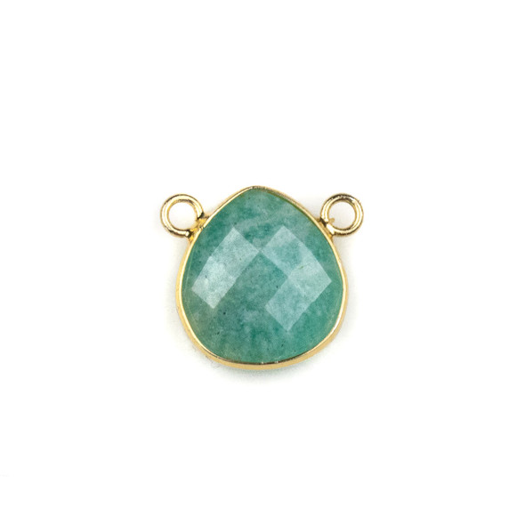 Amazonite 15x16mm Faceted Teardrop Pendant Drop with with a Brass Plated Base Metal Bezel - 1 per bag
