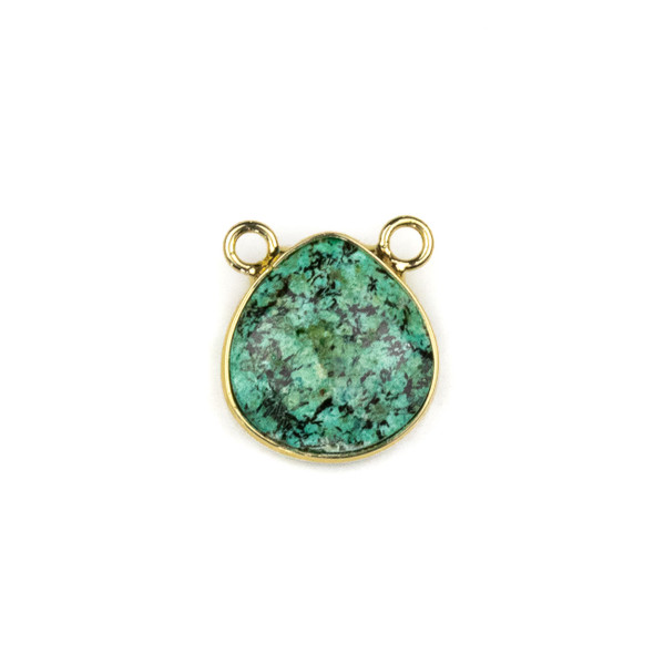 African Turquoise 15x16mm Faceted Teardrop Pendant Drop with with a Brass Plated Base Metal Bezel - 1 per bag