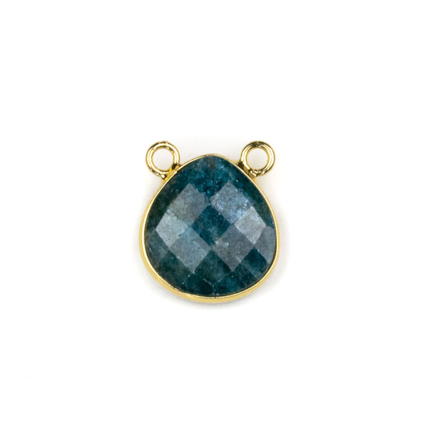 Apatite 15x16mm Faceted Teardrop Pendant Drop with with a Brass Plated Base Metal Bezel - 1 per bag