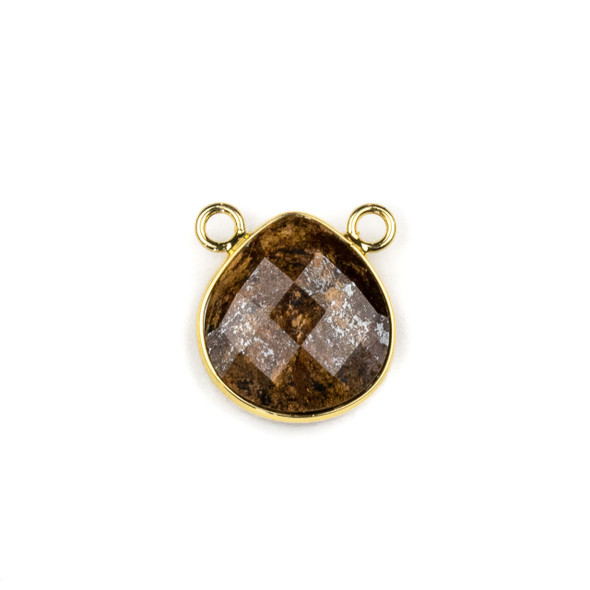 Bronzite 15x16mm Faceted Teardrop Pendant Drop with with a Brass Plated Base Metal Bezel - 1 per bag