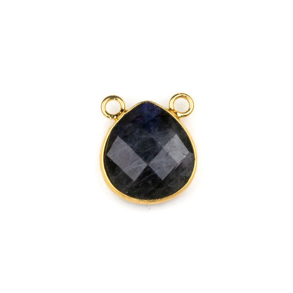 Blue Labradorite 15x16mm Faceted Teardrop Pendant Drop with with a Brass Plated Base Metal Bezel - 1 per bag