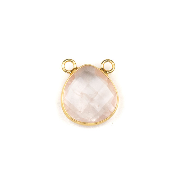 Rose Quartz 15x16mm Faceted Teardrop Pendant Drop with with a Brass Plated Base Metal Bezel - 1 per bag
