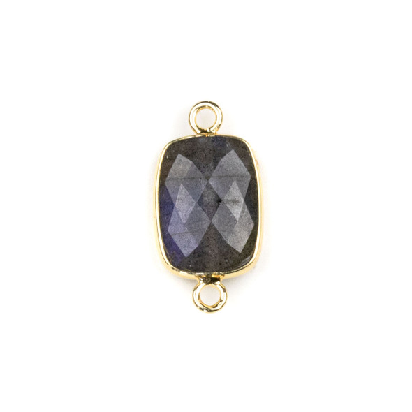 Blue Labradorite 12x22mm Faceted Rectangle Link with with a Brass Plated Base Metal Bezel - 1 per bag