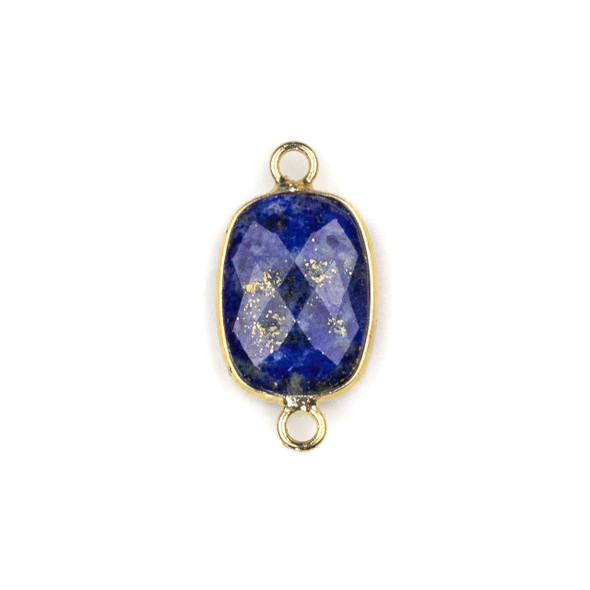 Lapis 12x22mm Faceted Rectangle Link with with a Brass Plated Base Metal Bezel - 1 per bag