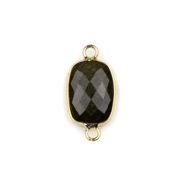 Golden Sheen Obsidian 12x22mm Faceted Rectangle Link with with a Brass Plated Base Metal Bezel - 1 per bag
