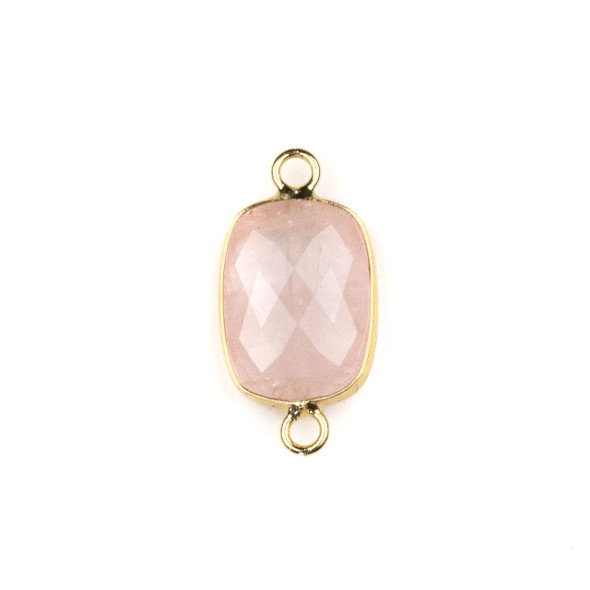 Rose Quartz 12x22mm Faceted Rectangle Link with with a Brass Plated Base Metal Bezel - 1 per bag