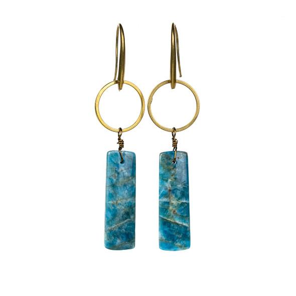 Apatite Rectangle Drop & Brass Hoop Earrings - #13