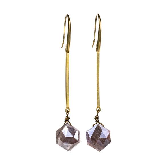Mystic Moonstone Hexagon Drop Brass Earrings - #16