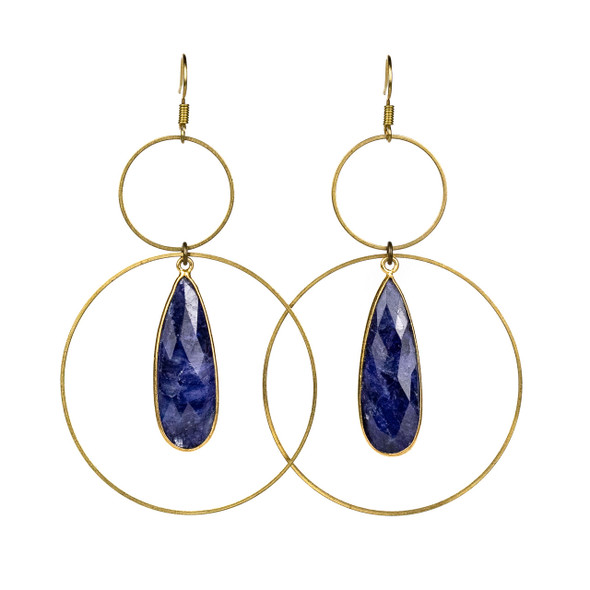 Sapphire Drop & Brass Hoop Earrings - #17