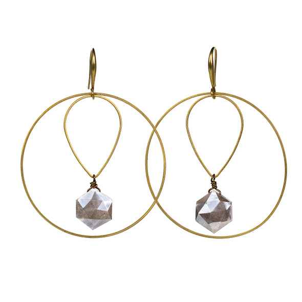 Mystic Moonstone & Layered Brass Hoop Earrings - #18