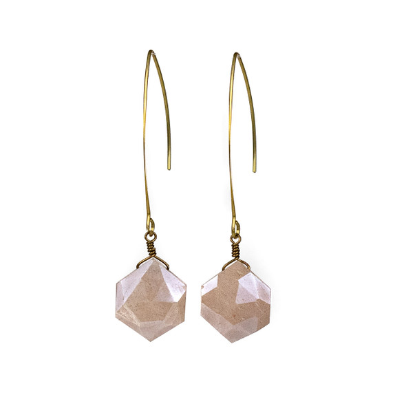 Peach Moonstone Hexagon Drop Earrings - #19