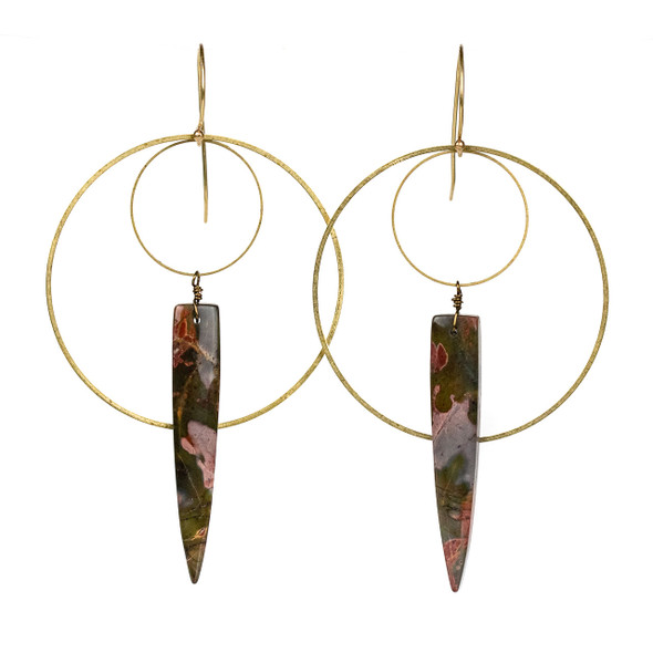 Cherry Creek Jasper Dagger & Layered Hoop Earrings - #20