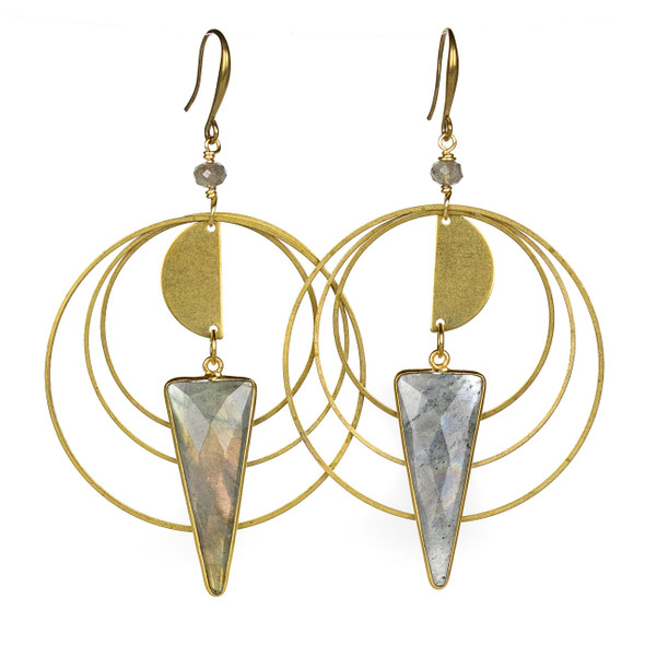 Labradorite Triangle & Layered Hoop Earrings - #24