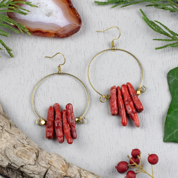 Red Coral Chips and Brass Hoop Earring Kit - #010