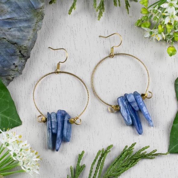 Kyanite Chips and Brass Hoop Earring Kit - #010
