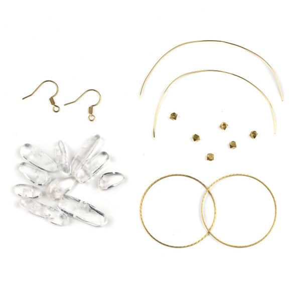 Clear Quartz Chips and Brass Hoop Earring Kit - #010