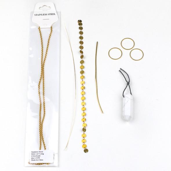 Howlite Hexagonal Point Necklace Kit - nkit-14