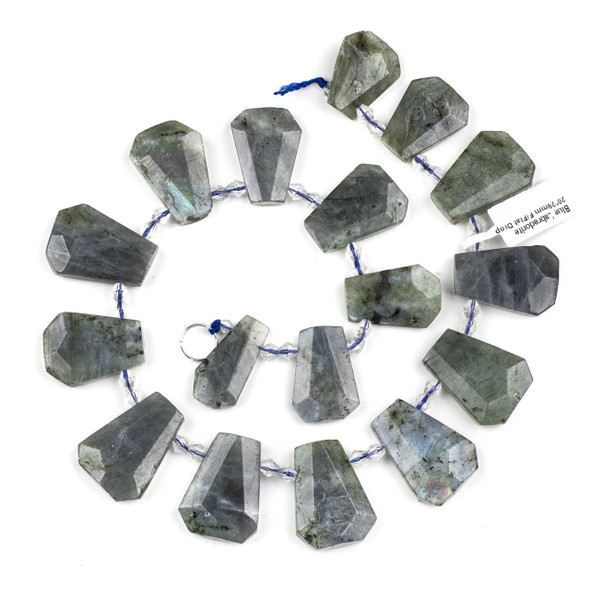 Blue Labradorite 20x29mm Top Drilled Faceted Shield Beads - 15 inch strand