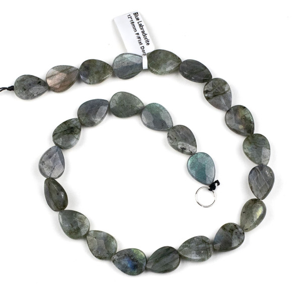 Blue Labradorite 12x16mm Faceted Teardrop Beads - 15 inch strand