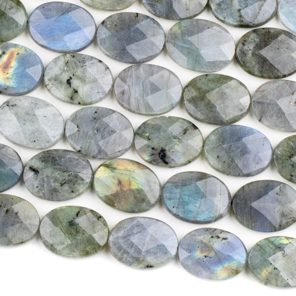 Blue Labradorite 15x20mm Faceted Oval Beads - 15.5 inch strand