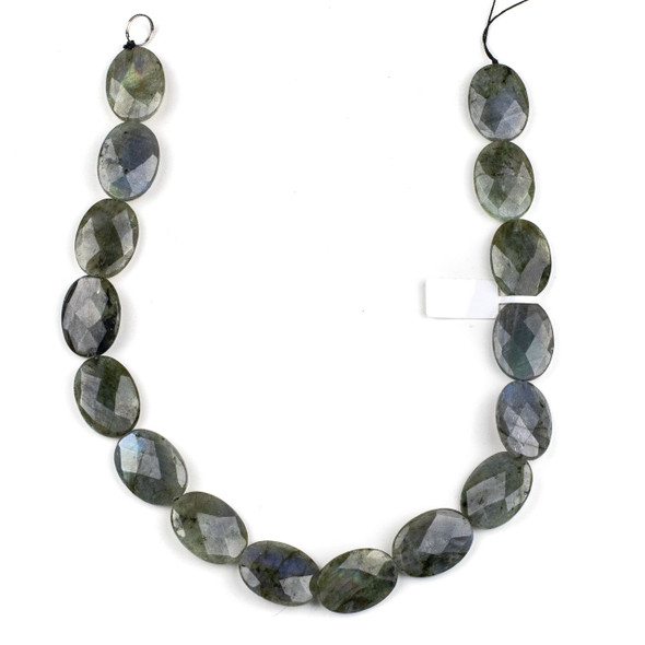 Blue Labradorite 18x25mm Faceted Oval Beads - 15.5 inch strand