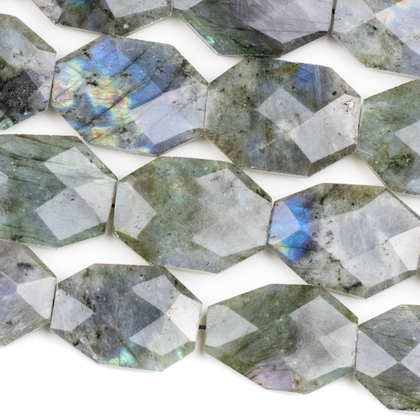 Blue Labradorite 25x35mm Faceted Irregular Octagonal Beads - 16 inch strand