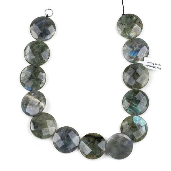 Blue Labradorite 30mm Faceted Coin Beads - 15 inch strand